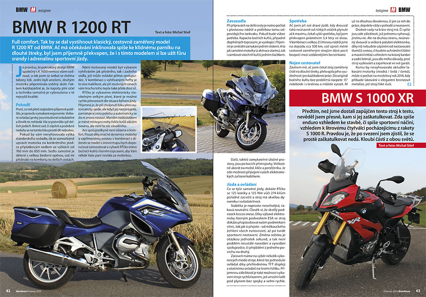 Test BMW R 1200 RT, test BMW S 1000 XR