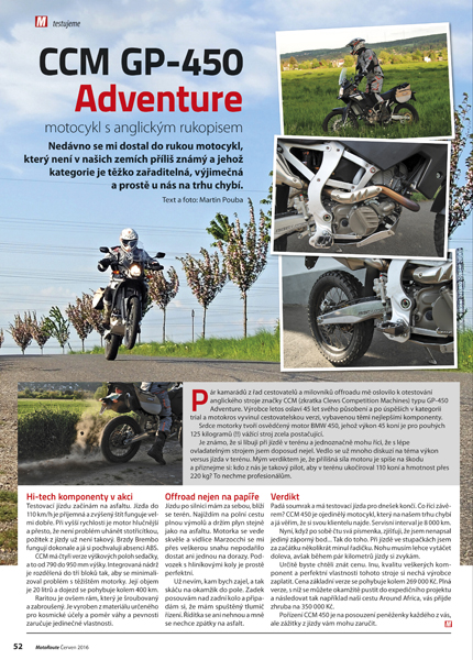 Test CCM GP-450 Adventure