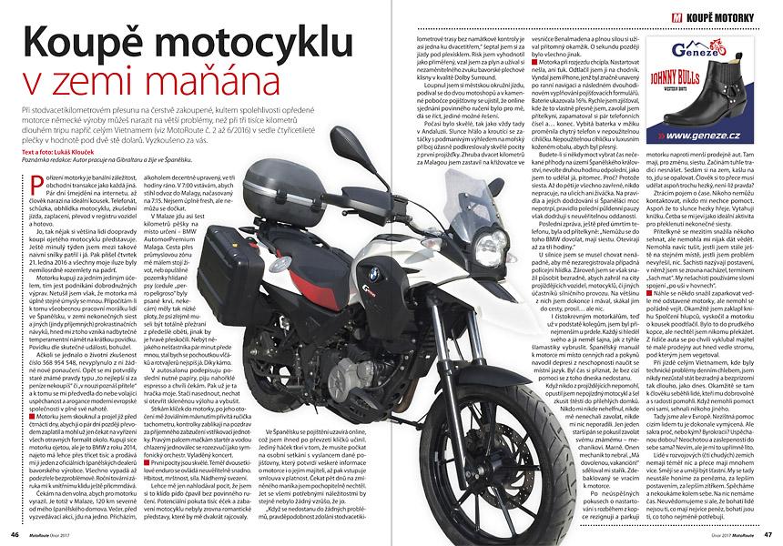 Lukáš Klouček: koupě motocyklu
