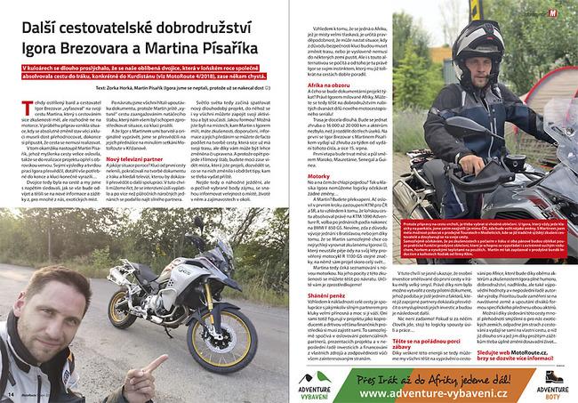 Igor Brezovar a Martin Písařík - moto cesta